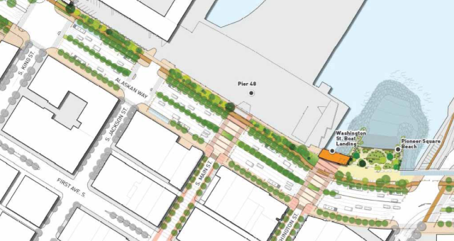Street design from King Street to Yesler Way. (Waterfront Seattle)