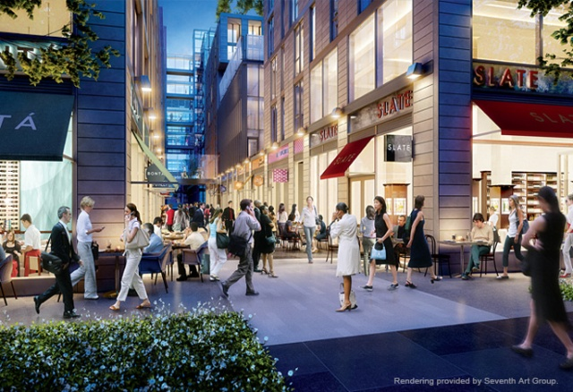 Rendering of a pedestrian street. (Foster and Hines)