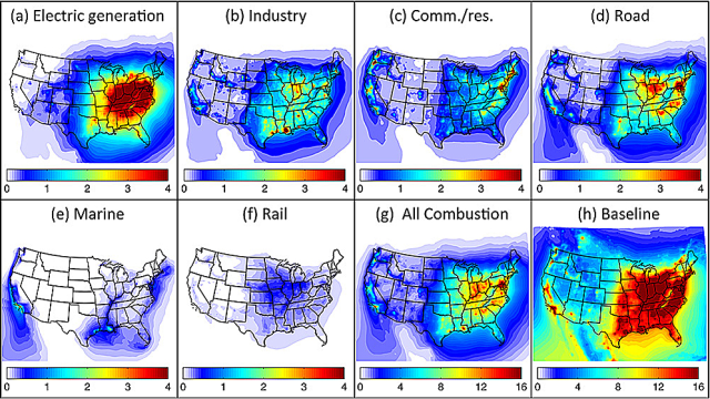 Colors indicate the relative intensity of pollution-related early deaths. (MIT LAE)
