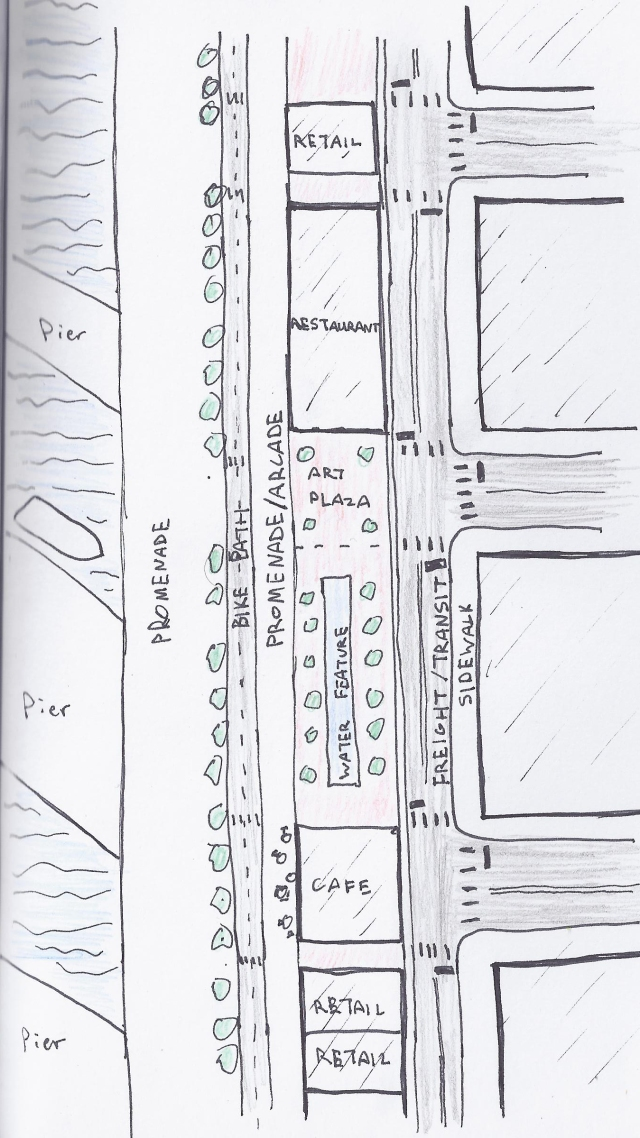 Quick sketch of street design alternative.