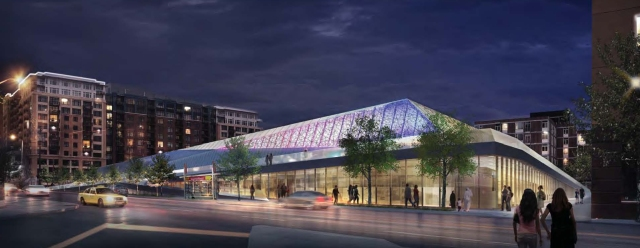 Night render of southeast corner. (NBBJ)