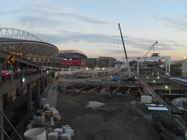 The waterfront tunnel's southern construction yard. Bertha's pit and the location of an eventual ventilation and operations building are visible.