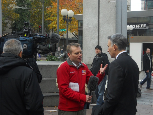 The media interviews King County Executive Dow Constantine.