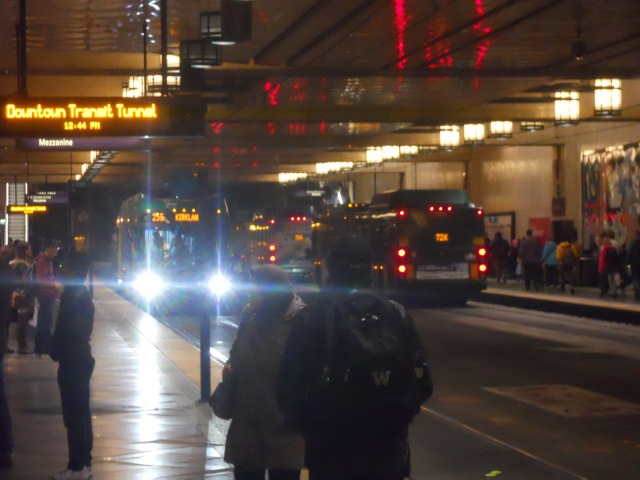 Metro buses have more than 400,000 boardings per day, many of them in the downtown Seattle transit tunnel.