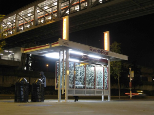 Example of an improved RapidRide bus stop at the SeaTac airport light rail station. (Seattle Transit Blog)