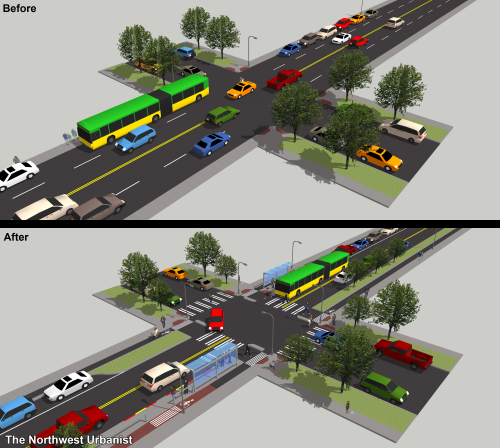 Before and after comparison of a typical middle segment (55 feet right-of-way) residential intersection with bus stops. Click to enlarge.