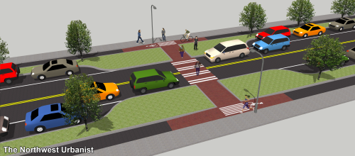 A mid-block crosswalk with 70 feet right-of-way. The raised bike/pedestrian intersection is an alternative to curb cuts. The islands, 20 feet long for ensuring visibility, could be used as small public spaces or bioswales Click to enlarge.