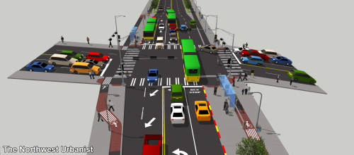 The busiest intersection in the corridor at 45th Street, where the right-of-way also shrinks from 80 feet to 55 feet. During most of the day, the lower segment (background) will allow curbside parking. Click to enlarge.