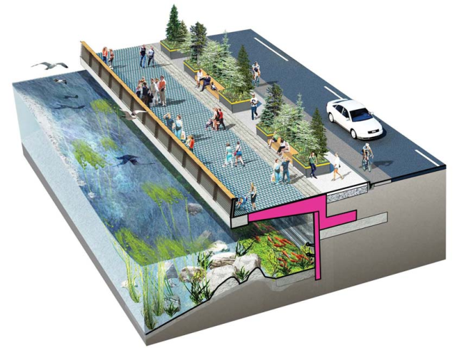 Concept for an area of the rebuilt seawall and promenade. (Waterfront Seattle)