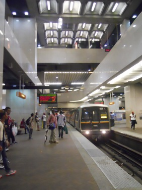 A MARTA train pulls in at Five Points station.
