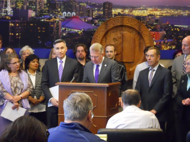 From left to right, King County Executive Dow Constatine, Seattle Mayor Ed Murray, and Seattle Council Transportation Committee Chair Tom Rasmussen.