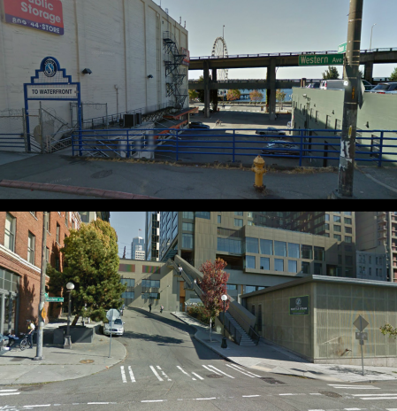 The Union Street right-of-way between Western Avenue and Alaskan Way (above) and First Avenue (below).