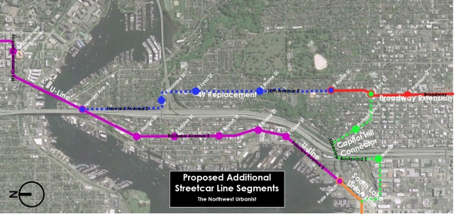 A proposal for two streetcar line segments that are not in the 2008 plan. Click to enlarge.