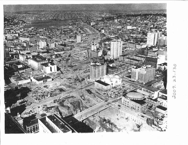 Demolition and construction through Downtown, circa 1960s.