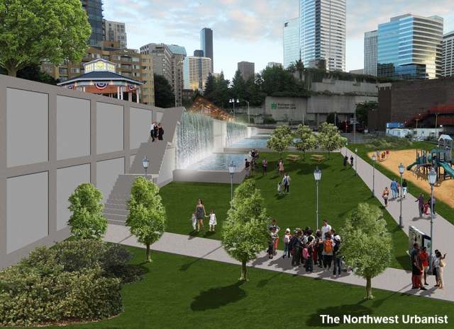 A conceptual view of Section 4, looking south from Pike Street. Click to enlarge and see comparison.