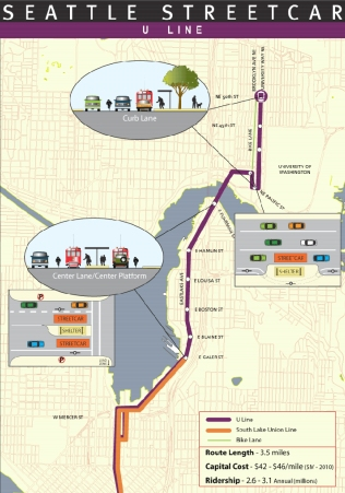 Conceptual routing of the U-Line. Click to enlarge. (City of Seattle)