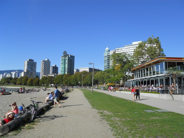 English Bay Beach on the northwestern edge of downtown.