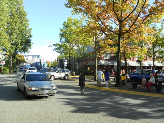 Granville Island has great examples of shared streets, but automobiles are still dominant.