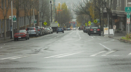 Roosevelt Way, looking south from 45th Street. During most of the day traffic is relatively light.
