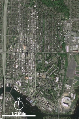 An aerial view of the U-District, with the UW campus at lower right.
