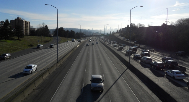 I-5, looking south from NE 50th Street.