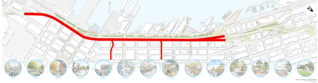 The proposal calls for saving 14 blocks of the viaduct between Pine Street and Railroad Way. The latest concept plan for the waterfront, dated May 2014, shows what the idea would interfere with. (Waterfront Seattle)