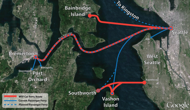 Current and planned public ferry routes in central Puget Sound.