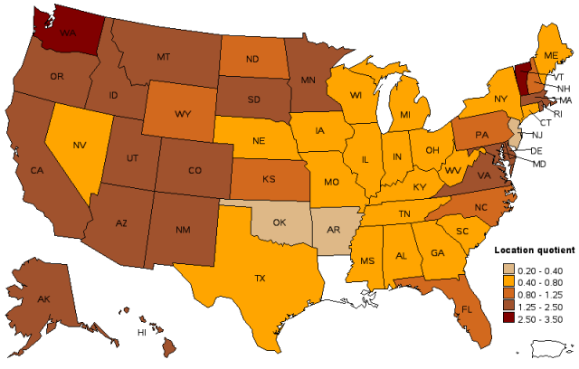 LQ of planners by state