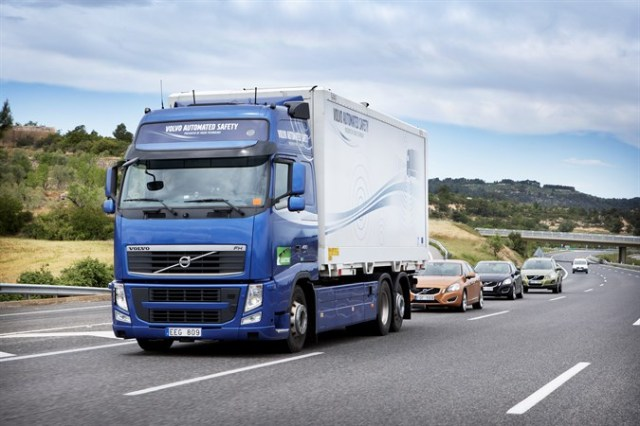 Driverless vehicles in a 2012 test in Spain. (Volvo)