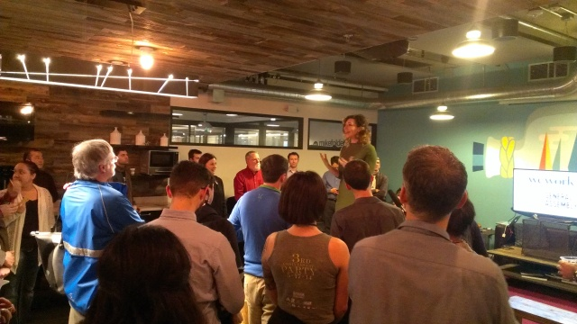 The kickoff event was held Tuesday evening at business incubator WeWork. Photo by the author.