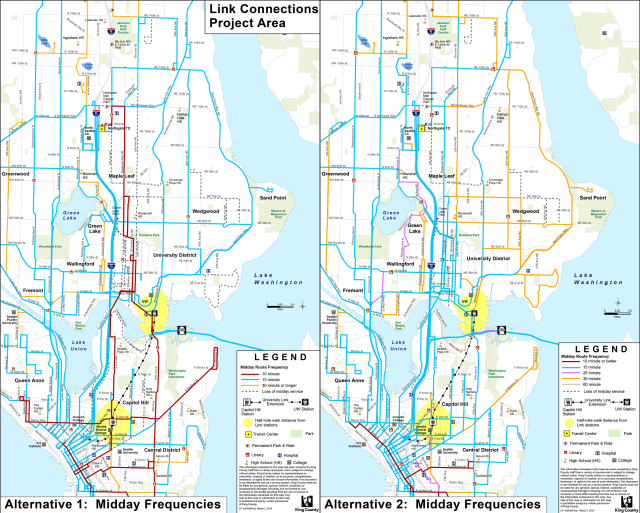 Comparison of Alternatives 1 and 2 midday frequency, perhaps the most useful way to visualize the networks. Click to enlarge. (King County Metro and Sound Transit)