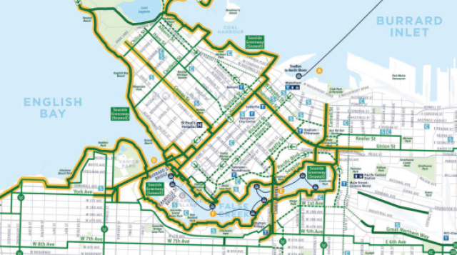 Vancouver's central city bike network. Click to enlarge (links to PDF).