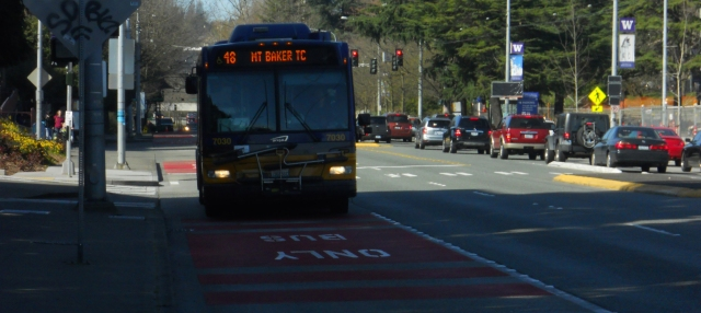 Investments like bus-only lanes and traffic signal priority could help make service more reliable for all riders. Photo by the author.