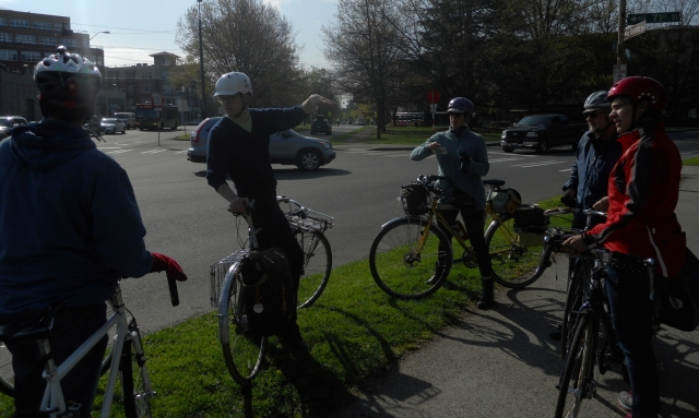 A group of residents discuss improving a complex intersection in Green Lake.
