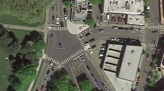 The awkward intersection at the west end of the project area.