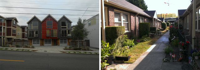 Left: example of townhomes with private parking in Ballard. Right: example of cottage housing in Green Lake/Roosevelt. Photos by the author.
