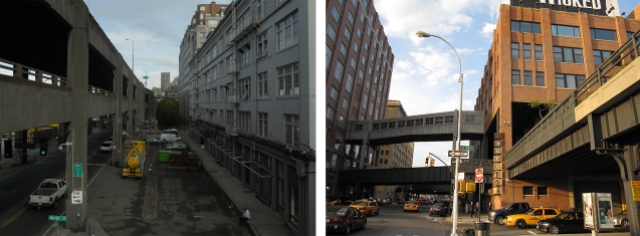 Left: The viaduct as seen from the Marion Street bridge. (Photo by the author). Right: the High Line between Manhattan's 14th and 15th streets where it runs through a building (Photo: Wikipedia).