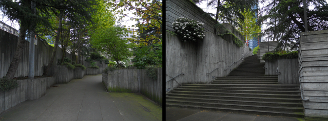 The verticality, tight spaces, and blind corners in Freeway Park lend to a sense of insecurity. Photos by the author.