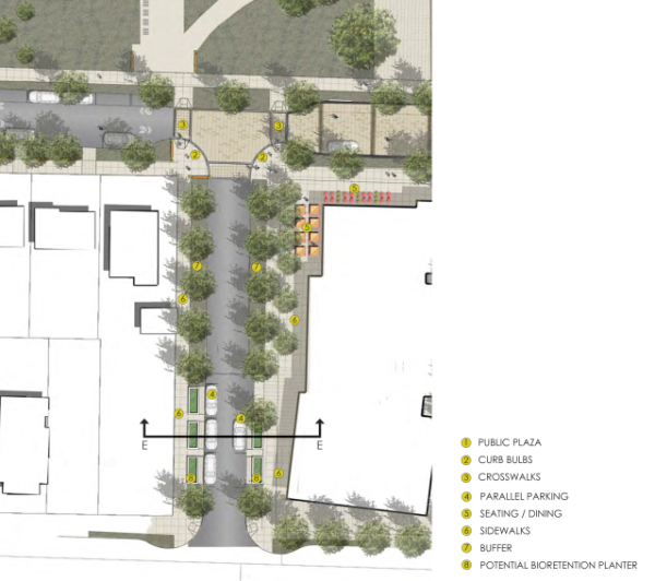 A conceptual site plan for a short green street on 14th Avenue NE. (Seattle DPD)