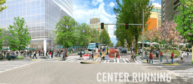 A rendering of what center-running BRT could look like on Madison at Terry Avenue.