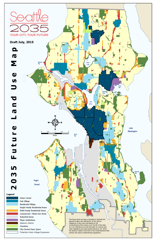 Seattle's proposed future land use map, showing the various types of urban villages and broad land use categories. (City of Seattle)