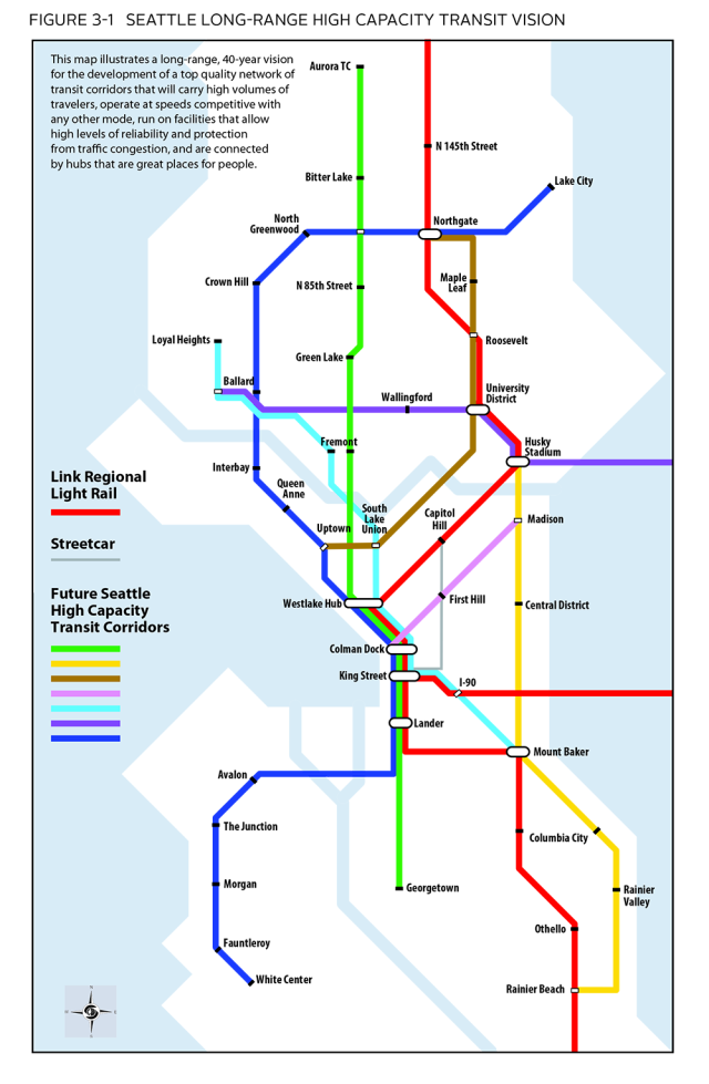 Seattle's planned high-capacity transit corridors, most likely to be realized in the form of BRT. (City of Seattle)