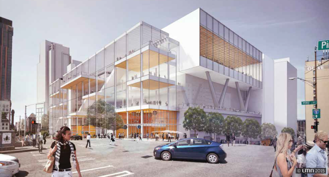 The preferred WSCC expansion design cantilivers over the freeway at the west corner of Pine Street and Boren Avenue. At street level, this corner of the building will have small retail spaces and building entries. The building's exterior will also have much greater transparency than the original facility. (LMN Architects)