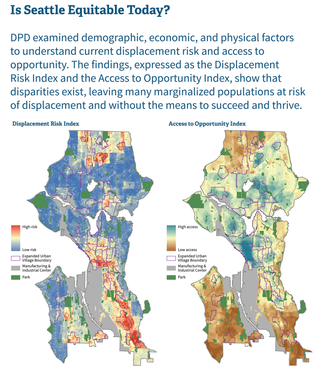 Displacement and opportunity indices developed by DPD. (City of Seattle)
