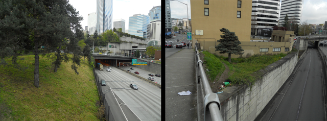 "Just two examples of fenced ""dead spaces"". Left: between Pike Street and Pine Street (behind Plymouth Pillars Park). Right: behind the low-income housing Olive Tower on Boren Avenue. Spaces like these can easily be upgraded for formal public use. (Photos by the author)"