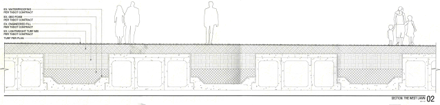 A section drawing of Klyde Warren Park's structural system. (OJB)