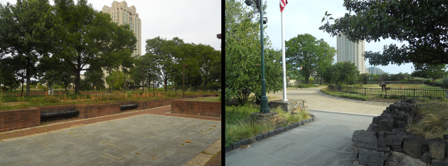 Left: part of Foglietta Plaza: Right: the northern lid. (Photos by the author)