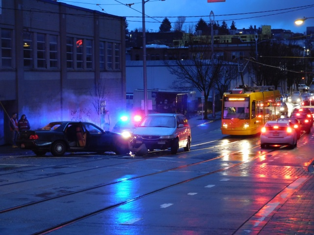 A three-car collision at 12th Avenue E and E Yesler Way blocking the First Hill streetcar on its first day of operations. (Photo by the author)