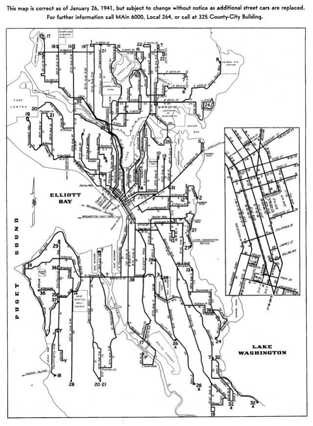 Historic Seattle streetcar map, circa 1941.