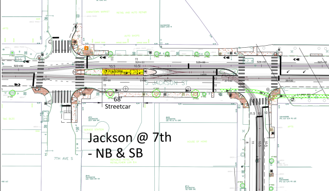 The layout of Jackson Avenue at the 7th Street streetcar station. The branch down 8th Street leads to the maintenance facility. (City of Seattle)